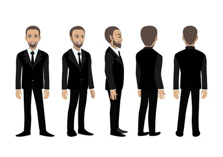 Cartoon character with business man. Front, side, back, 3-4 view animated character. Flat vector illustration. Ilustracja