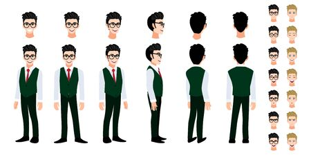 University student cartoon character head set and animation. Front, side, back, 3-4 view character. Flat icon design vector Stok Fotoğraf - 133204302