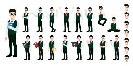 University student cartoon character set. Handsome boy in student uniform style smart shirt. Vector illustration