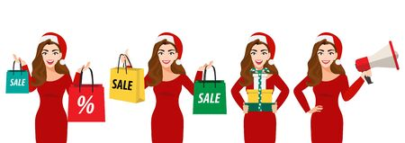 Surprised christmas beautiful woman in santa hat with shopping bag, gift box and megaphone on white background vector Stok Fotoğraf - 133204143
