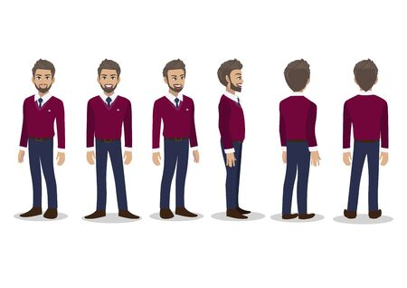 Businessman in fall casual with purple sweater shirt cartoon character animation set. Front, side, back, 3-4 view character. Flat icon design vector Çizim