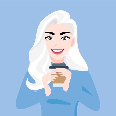 Lady cartoon character in autumn and winter clothes with cup of coffee in hands on blue background vector illustration Stok Fotoğraf - 133620819