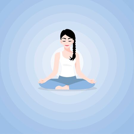 A beautiful young woman cartoon character in yoga lotus practices meditation. Practice of yoga. Vector illustration