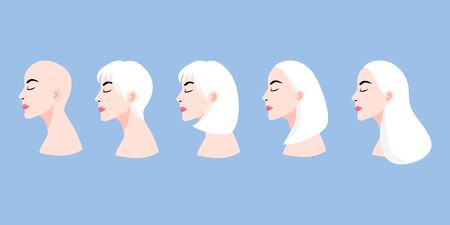 A set of ladys faces in profile with different hairstyles cartoon character vector