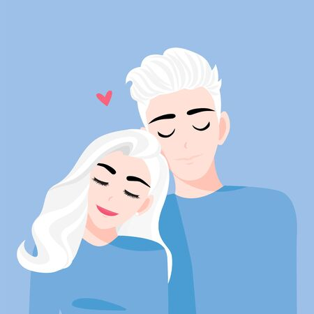 Love couple in relax time on a blue background. Valentines Day cartoon character and abstract design vector