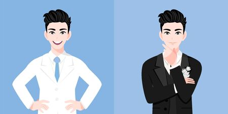 A handsome groom man with a wedding man's suit two styles on the wedding day in a blue background. Valentine's Day cartoon character and abstract design vector Stok Fotoğraf - 134582142
