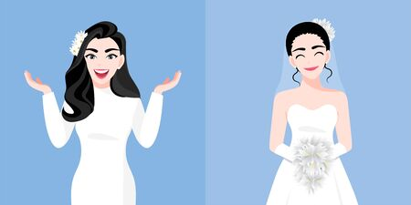 A beautiful young woman with a bride dress two styles on the wedding day in a blue background. Valentine's Day cartoon character and abstract design vector Stok Fotoğraf - 134581949