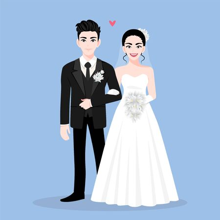 Love couple on wedding day in a blue background. Valentines Day cartoon character and abstract design vector