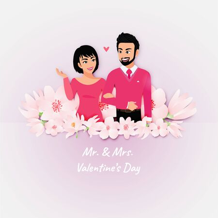 Love couple portrait in flower background. Valentine's Day cartoon character and vintage design vector Stok Fotoğraf - 134581965
