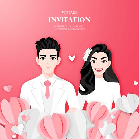 Love couple on wedding day in paper heart shape background. Valentine's Day cartoon character design vector Stok Fotoğraf - 134581985
