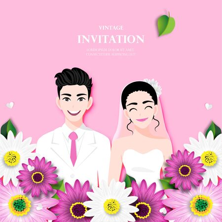 Love couple on wedding day in flowers background. Valentine's Day cartoon character design vector Stok Fotoğraf - 134581988