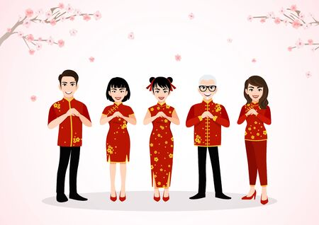 Chinese people cartoon character greeting in Chinese new year festival on plum blossom trees with spring season background vector Stok Fotoğraf - 134582006