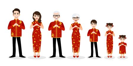 Chinese big family cartoon character greeting in Chinese new year festival on white background vector