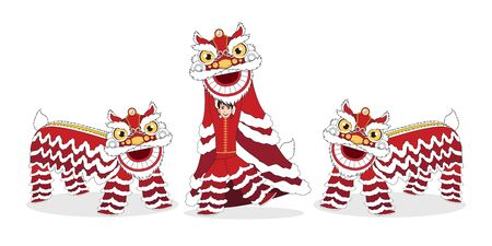Chinese Lunar New Year Lion Dance Fight isolated with cartoon character design on white background vector Stok Fotoğraf - 134582021