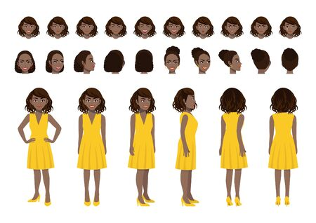 African American Businesswoman cartoon character head set and animation design. Front, side, back, 3-4 view animated character. Flat vector illustration. Stok Fotoğraf - 134582027