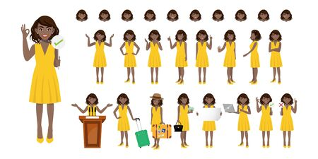 Businesswoman cartoon character set. African American businesswoman in yellow dress. Flat vector illustration. 向量圖像