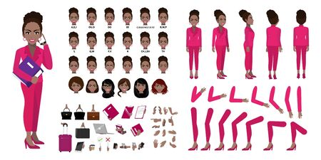 African American Businesswoman cartoon character creation set with various views, hairstyles, face emotions, lip sync and poses. Parts of body template for design work and animation.
