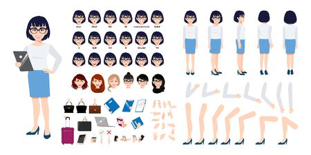 Chinese Businesswoman cartoon character creation set with various views, hairstyles, face emotions, lip sync and poses. Parts of body template for design work and animation. Stok Fotoğraf - 134581798
