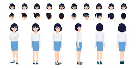 Chinese Businesswoman cartoon character head set and animation design. Front, side, back, 3-4 view animated character. Flat vector illustration.