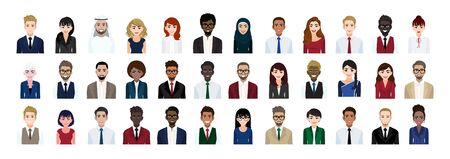 Business people cartoon character head collection set. Businessmen and businesswomen in office style on white background. Flat vector illustration 向量圖像