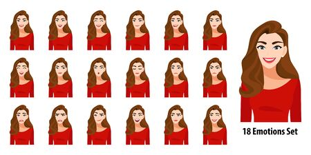 Beautiful long hair lady in red shirt with different facial expressions set isolated in cartoon character style vector illustration