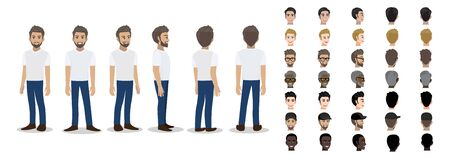 Cartoon character with a man in T-shirt white casual for animation. Front, side, back, 3-4 view character. Set of male head and flat vector illustration.