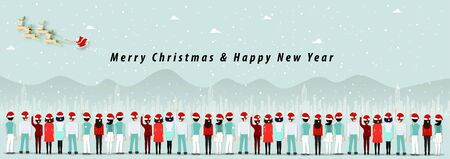 Merry Christmas & happy new year with  many people backside amazing a Santa Claus and snow falling on winter season in big town landscape view background vector Illustration