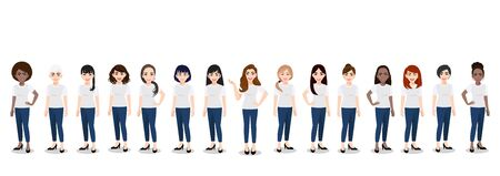 Cartoon character with the women team in T-shirt white and blue jean casual. Happy International womens day flat vector illustration. 向量圖像
