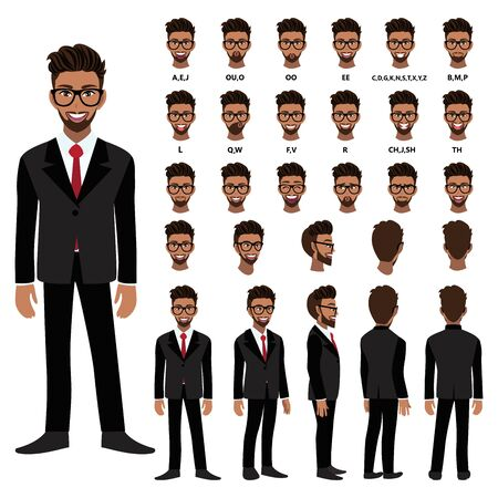 Cartoon character with African American business man in suit for animation. Front, side, back, 3-4 view character. Separate parts of body. Flat vector illustration. 向量圖像