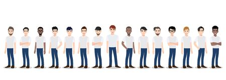 Cartoon character with the men team in T-shirt white and blue jean casual. Teamwork concept flat vector illustration. Stok Fotoğraf - 135725815