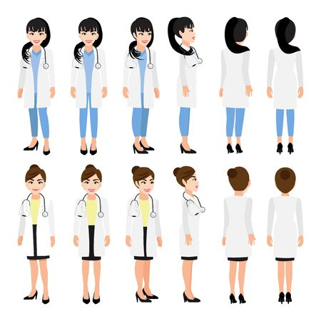 Female doctor cartoon character. Front, side, back, 3-4 view animated character. Flat vector illustration. 向量圖像