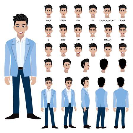 Personaje de dibujos animados con hombre de negocios en traje de animación. Carácter de vista frontal, lateral, posterior, 3-4. Partes separadas del cuerpo. Ilustración de vector plano.