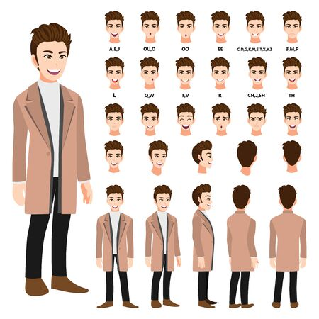 Cartoon character with business man in a long coat for animation. Front, side, back, 3-4 view character. Separate parts of body. Flat vector illustration.