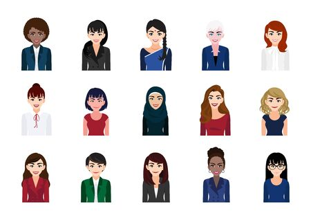 Businesswoman cartoon character portrait collection set. Beautiful business woman in office style on white background. Flat vector illustration