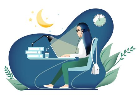 Cartoon character with girl working late in the office.  Potential concept. Business woman, freelancer, new project, deadline, girl-boss vector 向量圖像