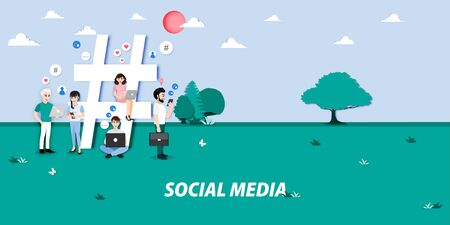 Cartoon character with social media concept and a big hashtag, likes, followers. Influencer, blogger creating online content.  Media marketing, SEO, content manager job cartoon vector