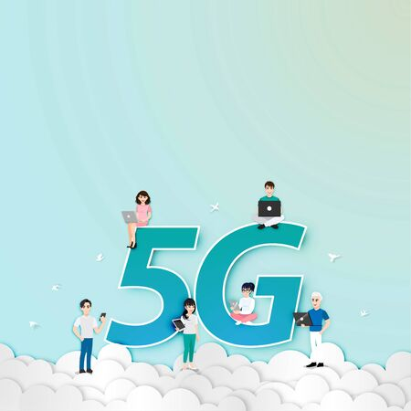 Cartoon character with 5G network wireless technology. Young people use smartphone ,tablet and laptop high-speed internet on the sky.  Big letters 5G vector