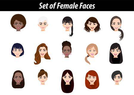 Set of female face avatar portraits isolated on white