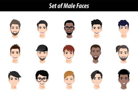 Set of male face avatar portraits isolated on white background. International men people heads flat vector illustration. 向量圖像