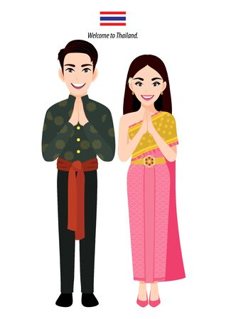 Thailand male and female in traditional costume, Thai people greeting