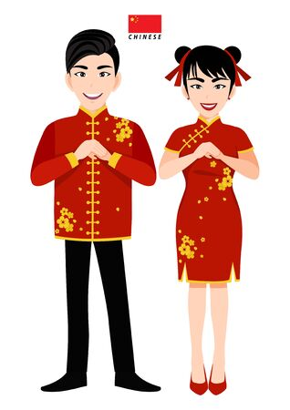 Chinese male and female in traditional costume, Chinese people greeting and Chinese flag on white background cartoon character vector