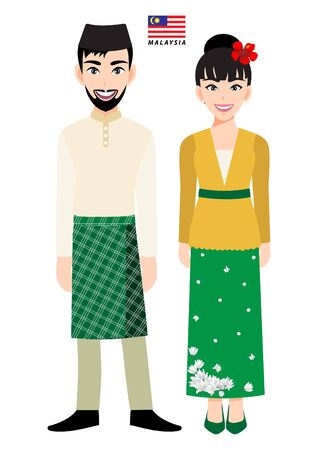 Couple of cartoon characters in Malaysia traditional costume vector