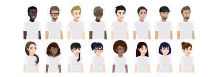 Cartoon character with men and women in T-shirt white casual for pose 3-4 view character. Set of male and female portrait flat vector illustration.