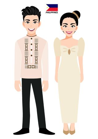 Couple of cartoon characters in Philippines traditional costume vector