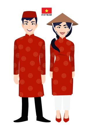 Couple of cartoon characters in Vietnam traditional costume vector 向量圖像