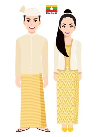 Couple of cartoon characters in Myanmar traditional costume vector 向量圖像