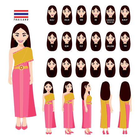 Thailands female in traditional costume for animation. Front, side, back, 3-4 view character, lip sync and poses. Cartoon character flat vector
