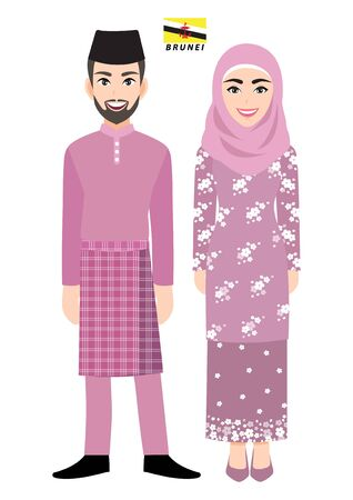 Couple of cartoon characters in Brunei traditional costume vector 向量圖像