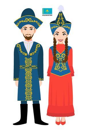 Couple of cartoon characters in Kazakhstan traditional costume vector