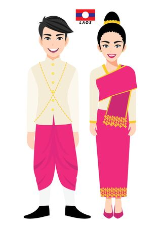 Couple of cartoon characters in Laos traditional costume vector 向量圖像